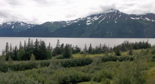 Roadside scenery from Turnagain Arm - looking out at the Cook Inlet and Chugatch Mountains to the north.