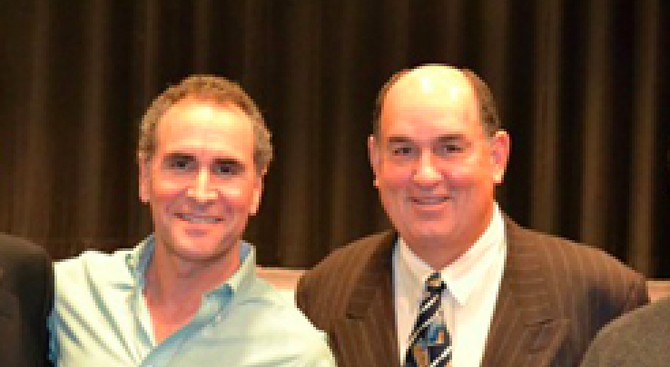 Jim Morris and Ed Brand at December 2011 awards ceremony