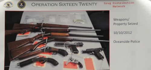 Police photo of weapons confiscated.