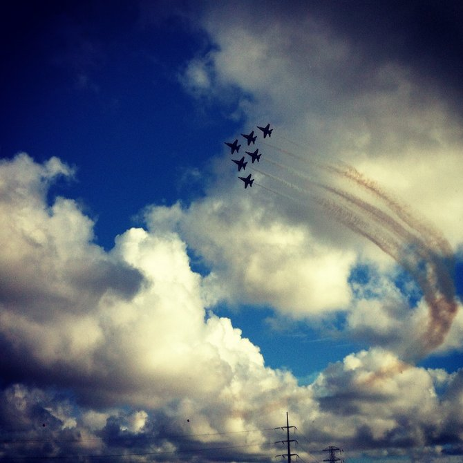 Traffic distraction!  Free airshow of the Blue Angels rehearsing for the MCAS Miramar Airshow this weekend.  I caught this photo from my iPhone on 10/11/12 while sitting in traffic after work going southbound on the 805.