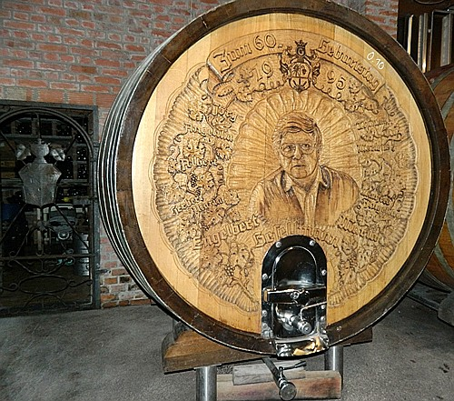 Wine-aging cask at Gesellmann Winery with the image of the founder, the current vintner's dad.