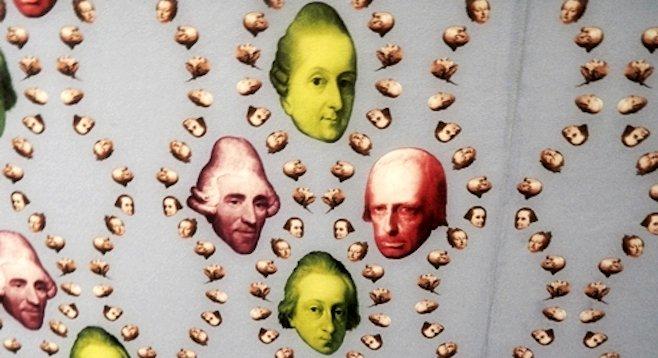 """Pop-art wallpaper of Haydn and Prince Esterhazy in the Esterhazy Palace's """"Haydn Explosiv"""" exhibit."""