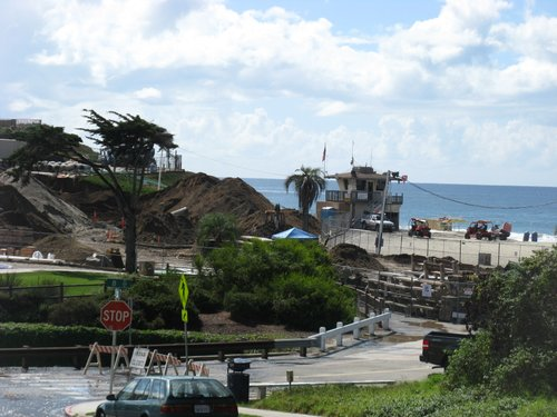 Moonlight Beach in Encinitas during the reconstruction.