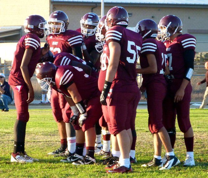 Kearny in the offensive huddle