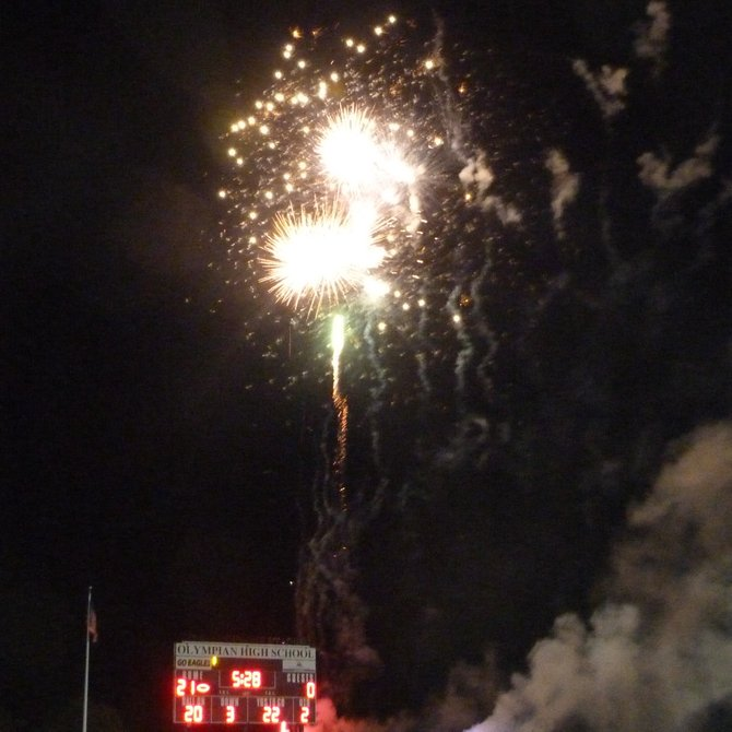 Fireworks lit up the South Bay sky during Olympian High's Homecoming halftime show