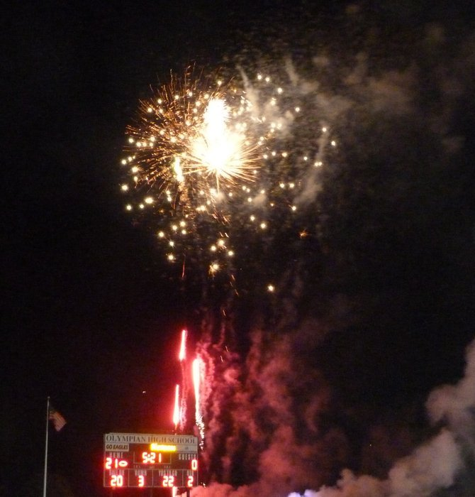 Homecoming festivities at Olympian High included a halftime fireworks show
