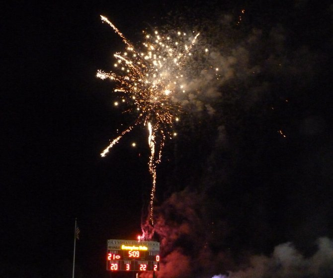 Fireworks were shot into the sky as part of Homecoming celebrations at Olympian High