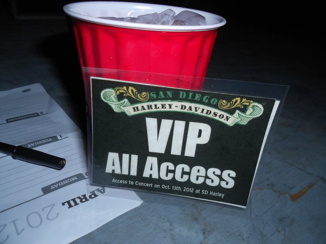 VIP All Access @ P.O.D. / Sprung Monkey Harley parking lot show in Kearny Mesa.