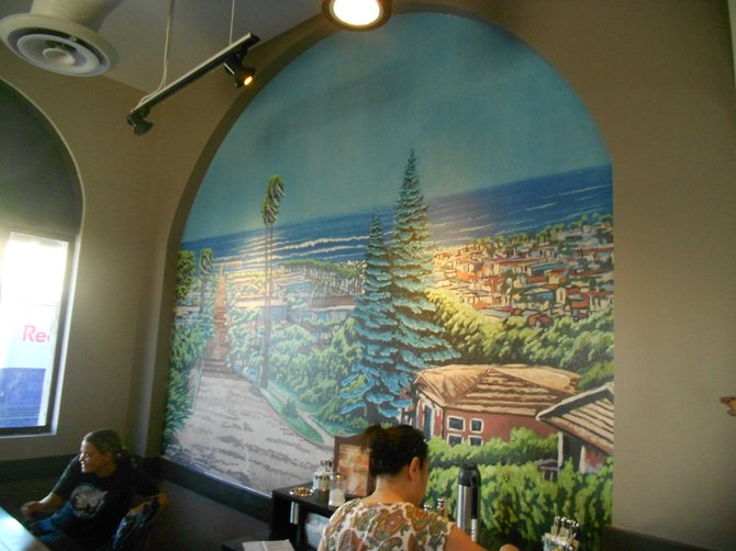 Beautiful mural on wall of Starbucks in Ocean Beach.