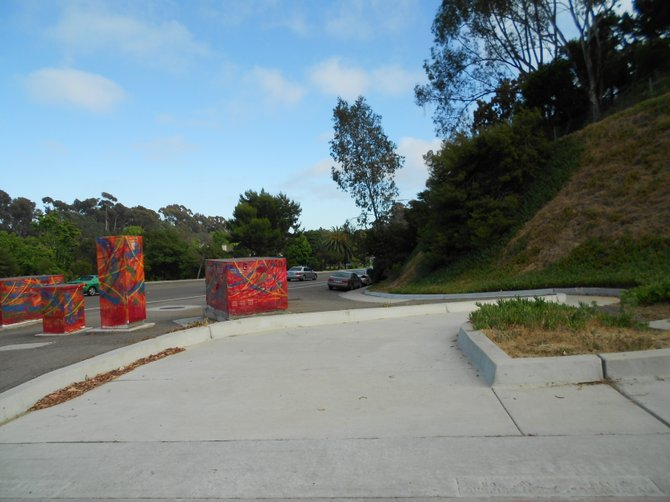 Colorful utility box art near UCSD entrance on Gilman Dr. in La Jolla.