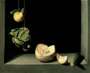 Juan Sánchez Cotán, Quince, Cabbage, Melon, and Cucumber, circa 1602