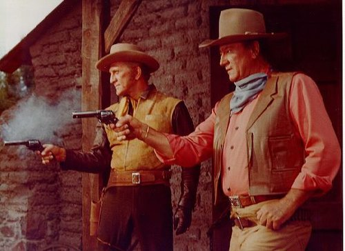 "Kirk Douglas and John Wayne in Burt Kennedy's ""The War Wagon"" (1967)."