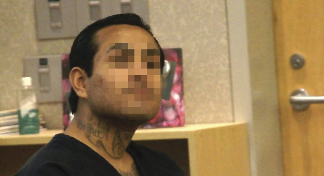 Sergio Lopez, shown in court and in an Escondido police mug shot, fired his gun and eluded two officers and a police dog. He was arrested in Mexico months later.