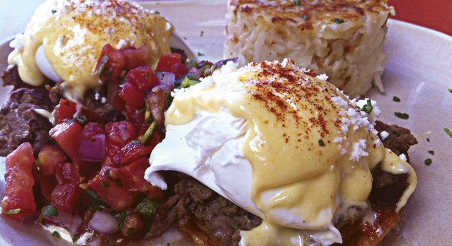 Snooze, an A.M. Eatery features reinvented classics. For example, the Chilaquiles Benedict.