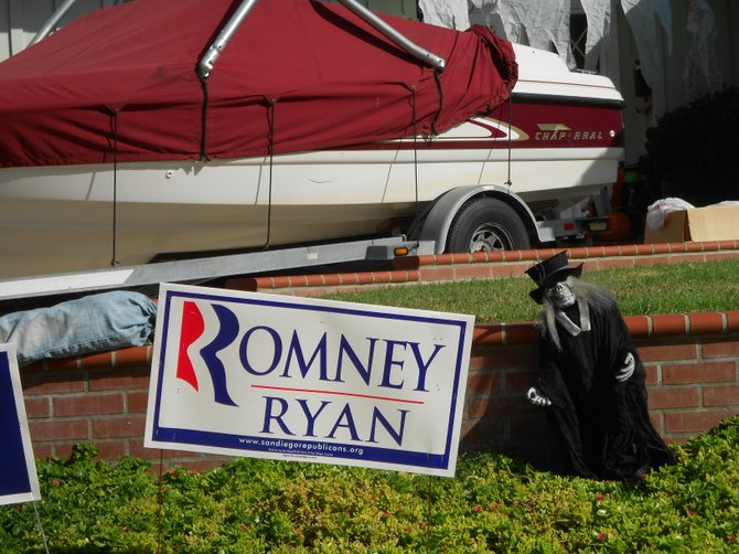 Looks like it's old crones for Romney / Ryan, which is just about right for Pt. Loma.