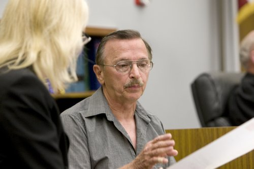 Prosecutor with stepdad Donald Chaffee in the witness box.  Photo Weatherston.