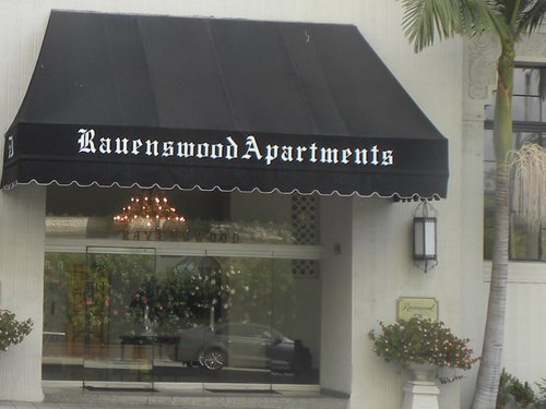 The entrance to The Ravenswood Apartments where Mae West lived when she died at 91 in 1980.