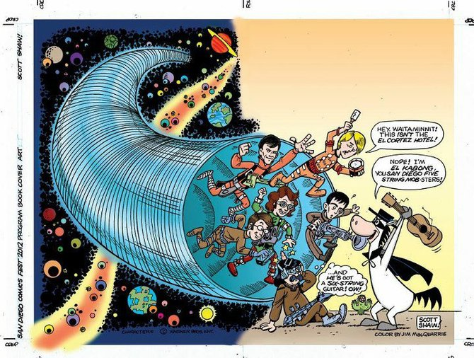 Program Book wraparound cover by former San Diegan Scott Shaw!, with colors by Jim MacQuarrie