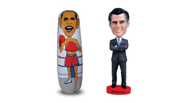 Obama punching bag, Romney bobblehead
