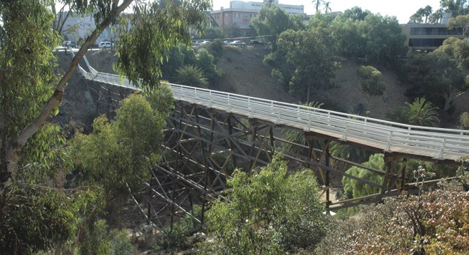 The Quince Street bridge, the fourth bridge on the seven bridges walk, spans Maple Canyon between Second and Fourth avenues.
