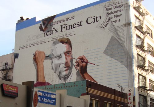 Why didn't the artists finish this mural of Montgomery Clift? Were they feeble min-ded?