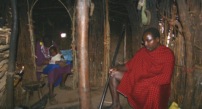 Inside a typical mud-and-timber-built Maasai hut in Kenya.