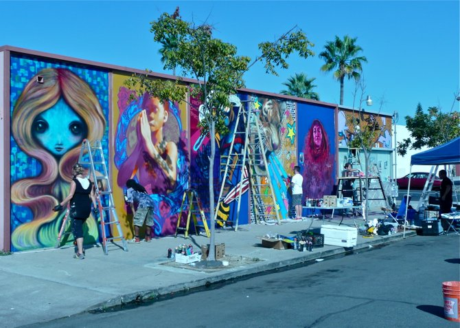 Local artists add to the Public Art collection in North Park, San Diego's Art District.