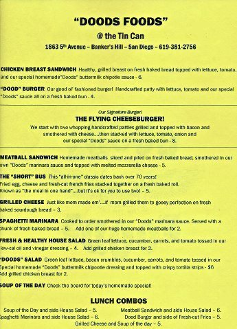 Doods Foods menu