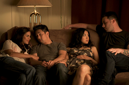 "(L-R) Sheetal Sheth, Parry Shen, Lynn Chen, and Kerry McCrohan in ""Yes, We're Open."""