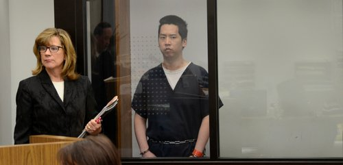 Defender Kathleen Cannon and Bryan Chang in court.  Photo Weatherston.