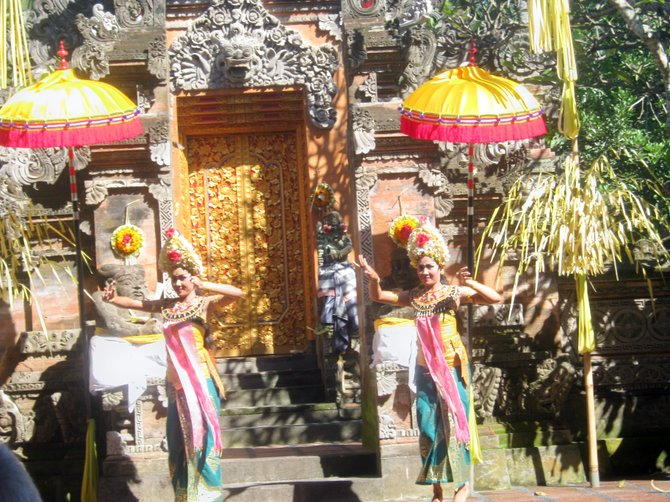 A play in Bali is filled with color, dance and drama.