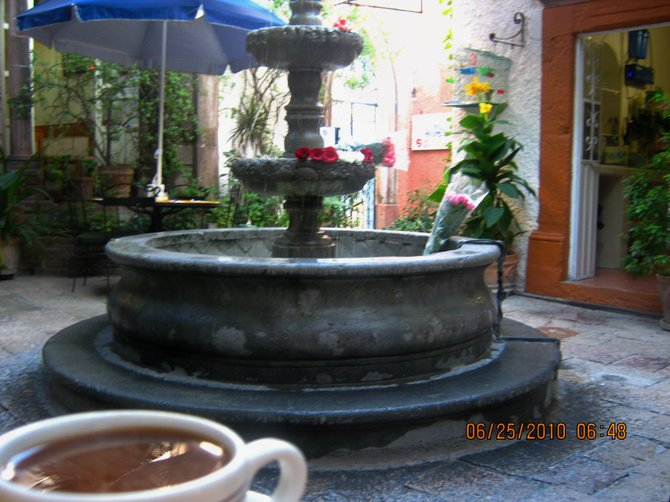 There's nothing like a morning cup of joe in a courtyard in San Miguel de Allende.