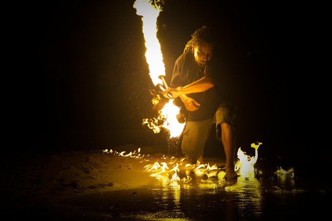 "Known on the island of Roatan as ""Roatan Fire Man"", this man makes art from flames."