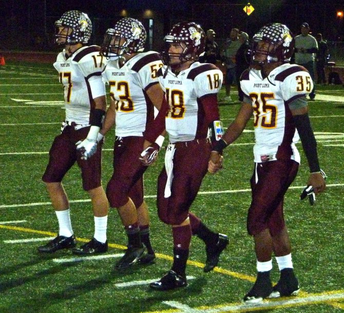 Point Loma team captains (left to right): seniors Zach Eischen, Greg Verdugo, Branden Martin and Jamal Agnew