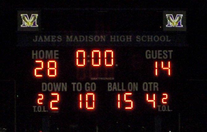 Final score - Madison 28, Point Loma 14
