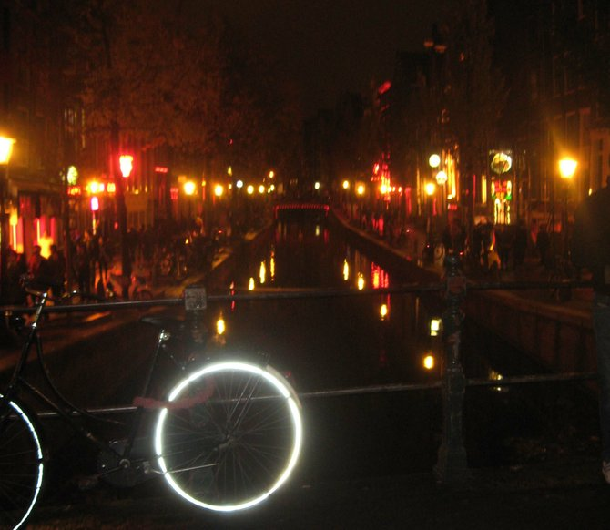 Amsterdam's red light district – token bike in the foreground.