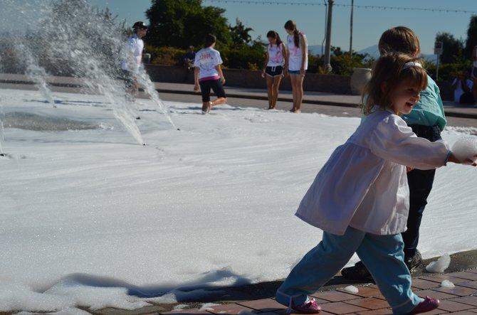 Balboa Park Fountain turned Giant Bubble Bath.