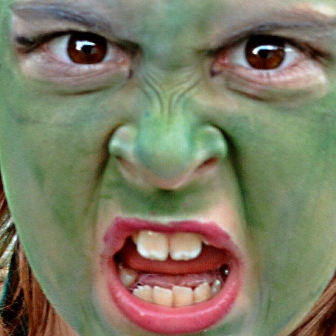 My daughter Aidan as a banshee on Halloween. College Grove.