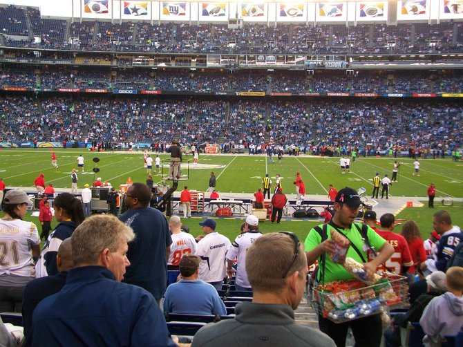 Charger / Kansas City Thursday night game at Qualcomm min Mission Valley.