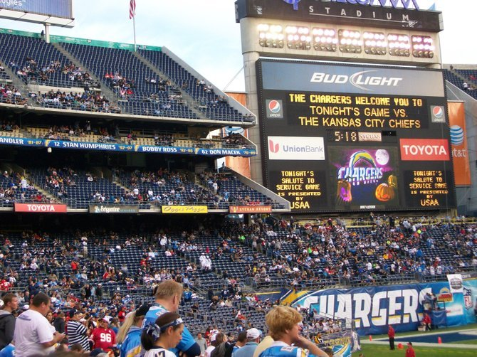 Stadium not looking too full for a nationally-televised game at Qualcomm Stadium.