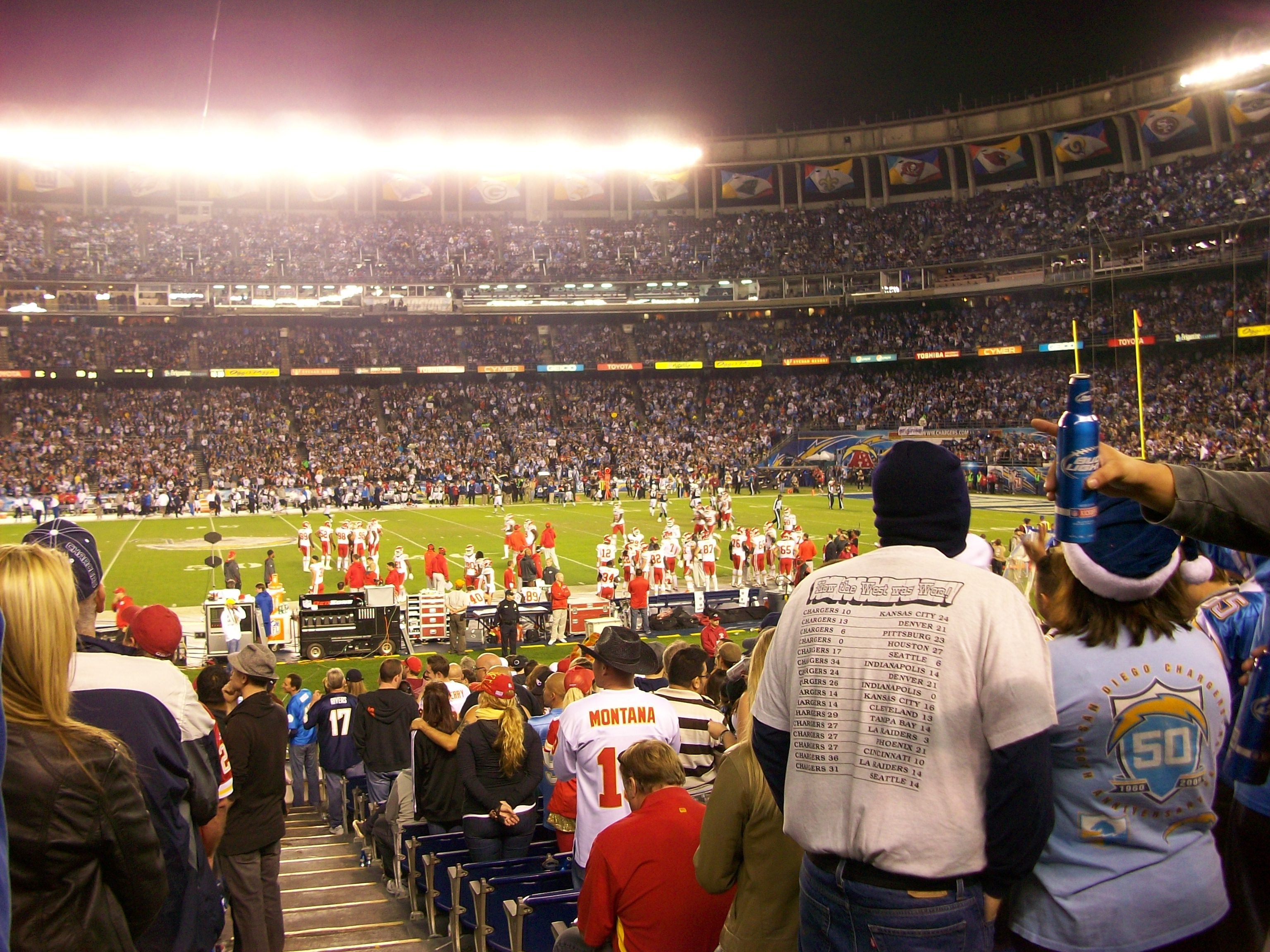 Exciting game. Well, not really, at Qualcomm Stadium for Chargers/ Kansas City.