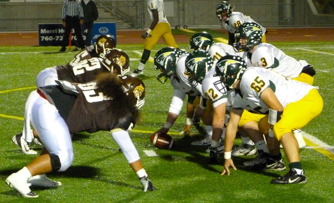 The line of scrimmage between Patrick Henry and El Camino in the first round of the Division I playoffs