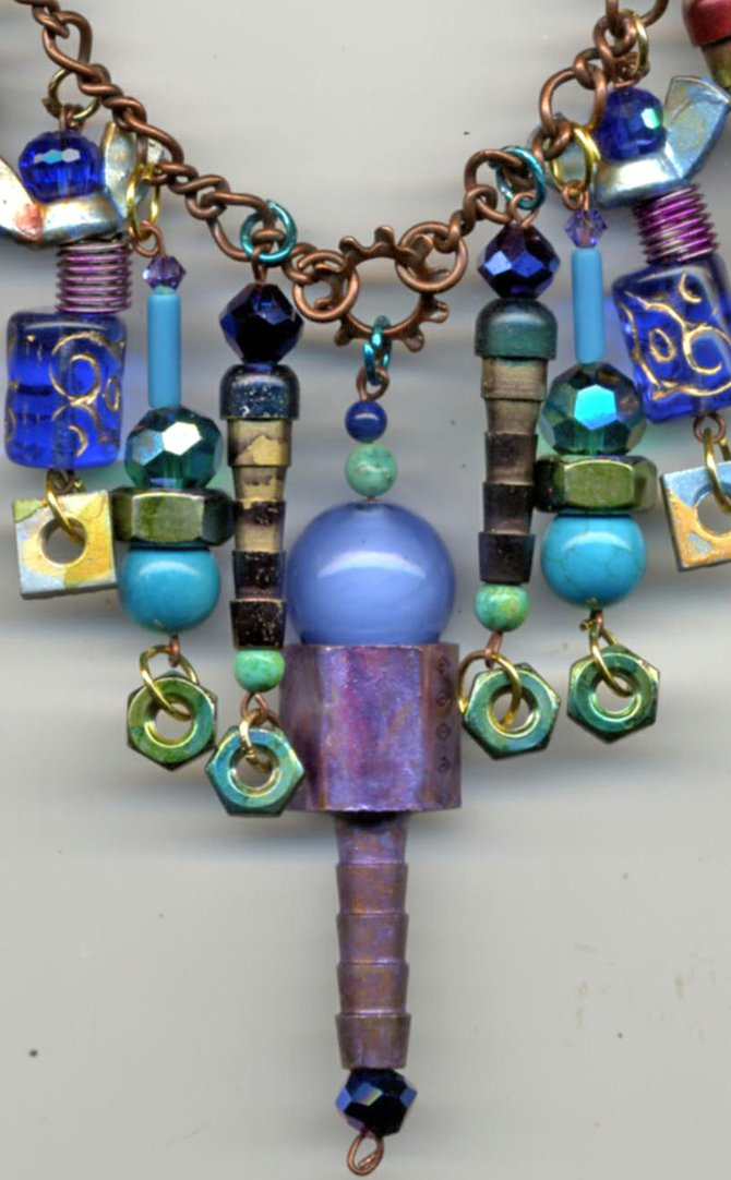 Nautillus - Steampunk necklace made by Cathy Carey using hand painted hardware