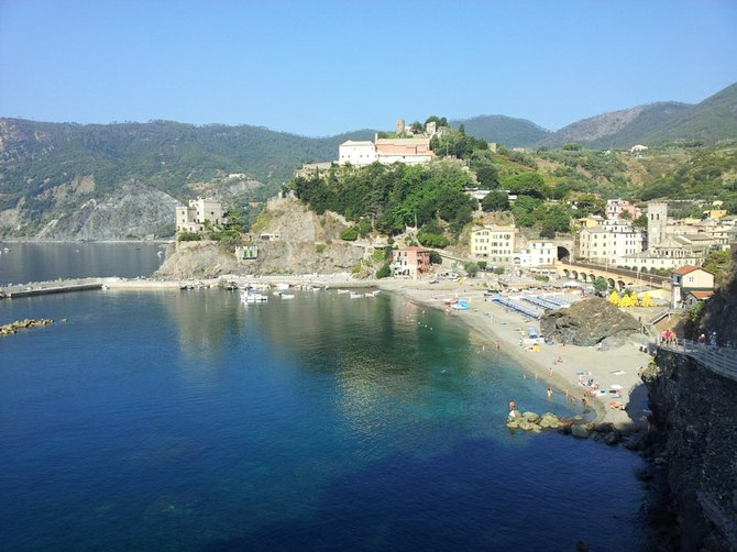 Monterosso's old town from the hiking path.