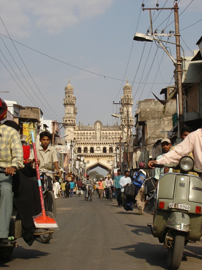 The Charminar monument in Hyderabad's Old City.