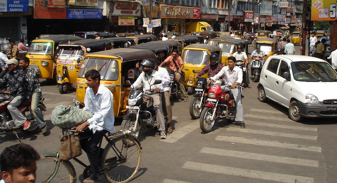 Needless to say, street traffic doesn't follow the same rules in Hyderabad, India, that it does in the U.S.