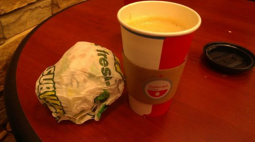 Totes ate the sandwich before photographing.  But anyone who needs to see a Subway sub needs to get out more....