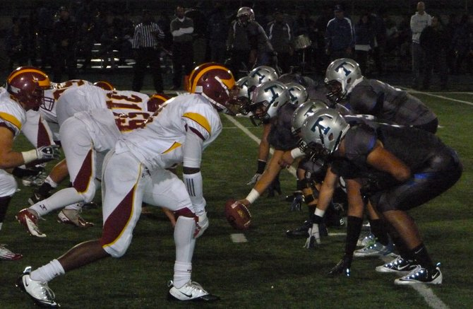 The line of scrimmage between Eastlake and Torrey Pines in the Division I quarterfinals