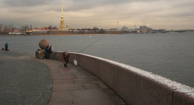 Braving the cold for some fishing on St. Petersburg's River Neva.