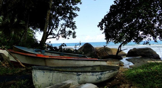 Abandoned boats near Victoria on the island of Mahé.